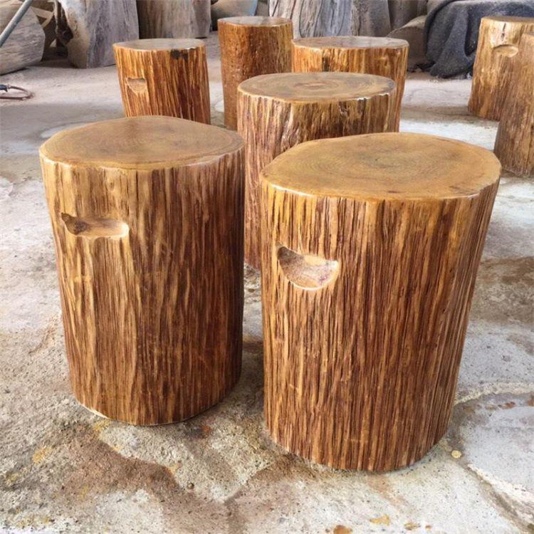 厂家直销柯木墩子简约现代实木椅换鞋凳中式原木办公休闲凳定制
