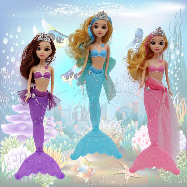新款美人鱼公主塑料玩具3D真眼七彩护眼灯光儿童益智过家家娃娃