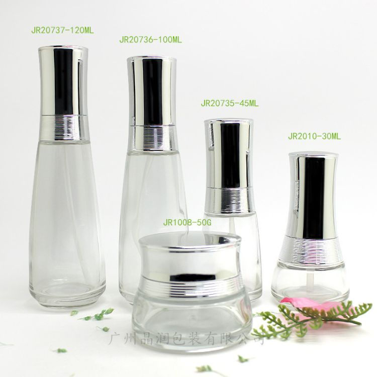 厂家直销 现货供应 高档玻璃水乳瓶 膏霜爽肤水瓶 化妆品套装瓶