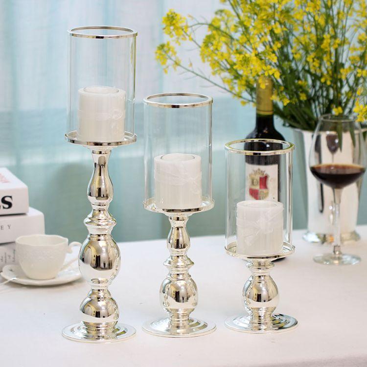 4321欧式高档镀银铁艺出口烛台家居婚庆酒吧摆件浪漫装饰品