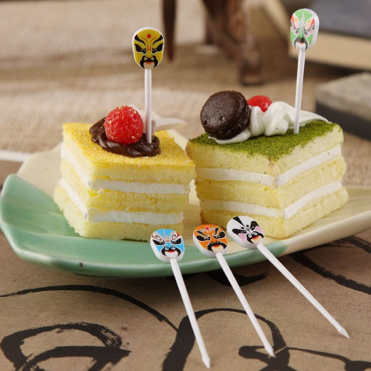 安雅脸谱水果叉跨境爆款酒店餐厅塑料水果签蛋糕甜品叉一盒12支装