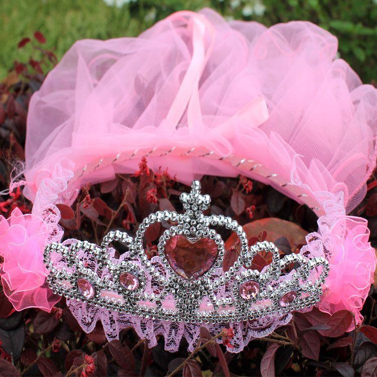 皇冠头纱儿童旅游饰品婚纱花环头箍蕾丝公主头饰花环厂家批发