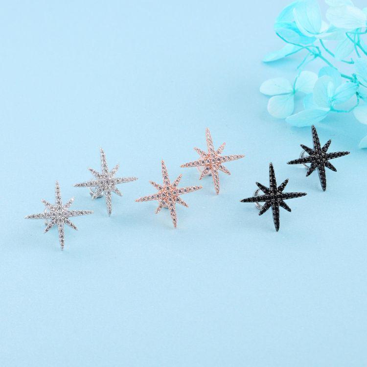 魅德珠银饰 厂家批发 925纯银材质 大号星星满钻耳钉耳环