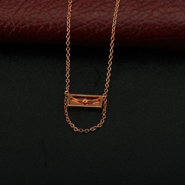 铜镀玫瑰金项链女吊坠套装水晶锆石吊坠一封书信可刻字定做