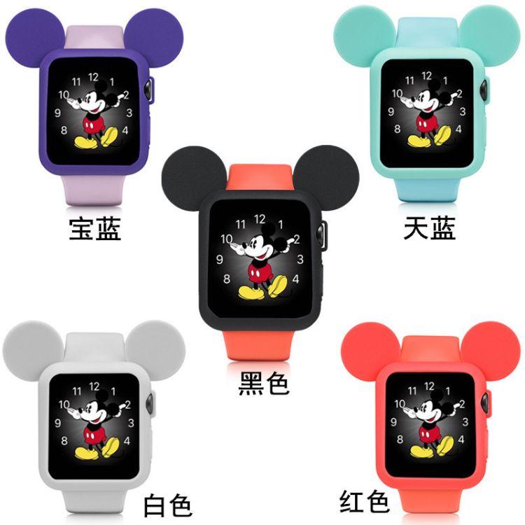 适用于苹果手表apple watch1/2/3/4卡通米奇硅胶全包防摔保护壳套
