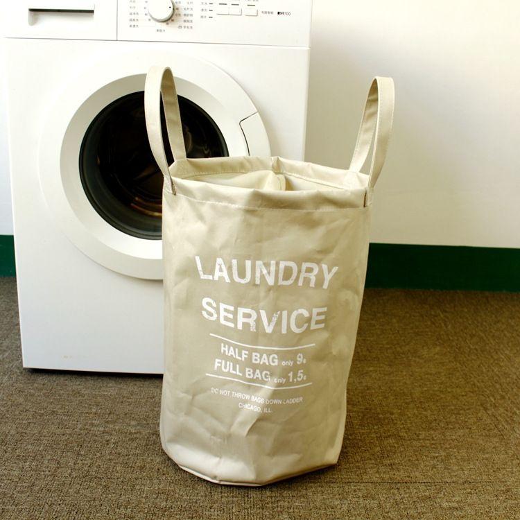 棉布涂层脏衣服收纳袋亚马逊跨境热卖布艺手提袋