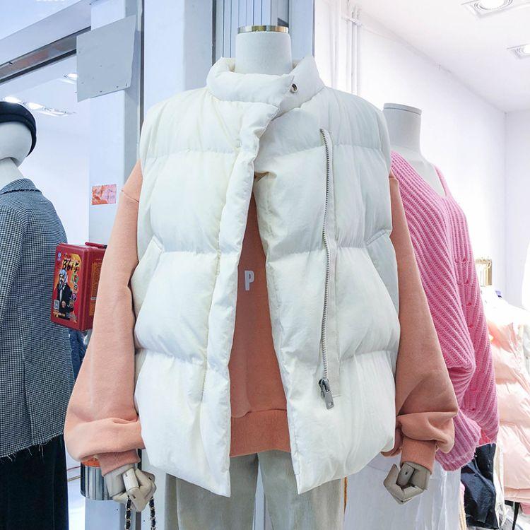 韩国秋冬新款百搭4色拉链简约款立领保暖厚实棉服马夹面包服女