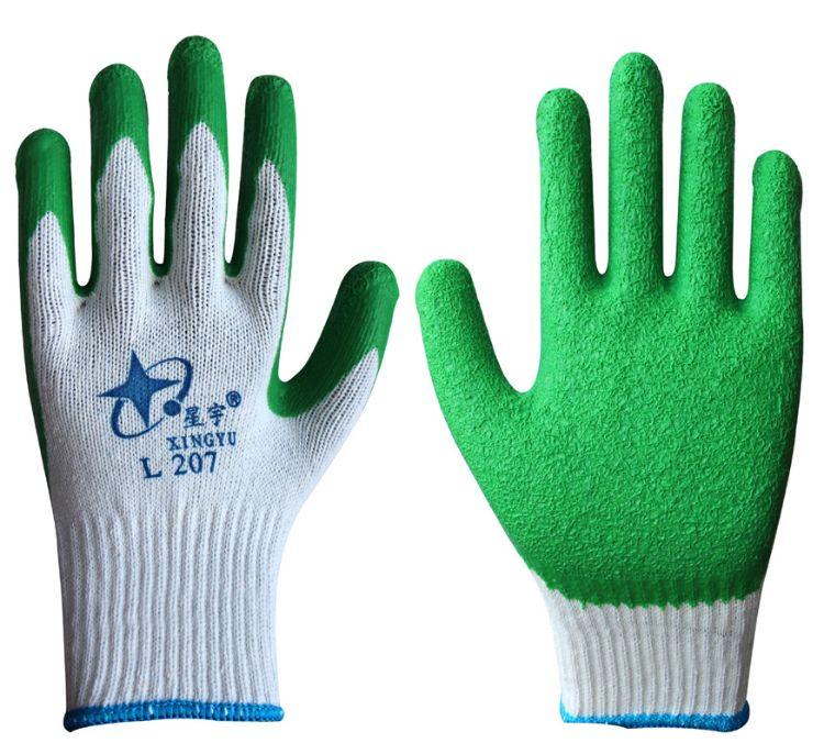 星宇手套L207加厚耐磨工业建筑劳保乳胶皱纹线劳保手套