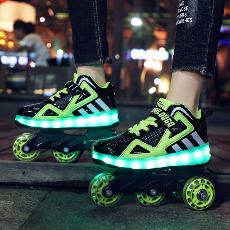 冬季直排四轮子轮滑鞋变形鞋溜冰鞋成儿童路面滑行鞋冰鞋发光灯鞋