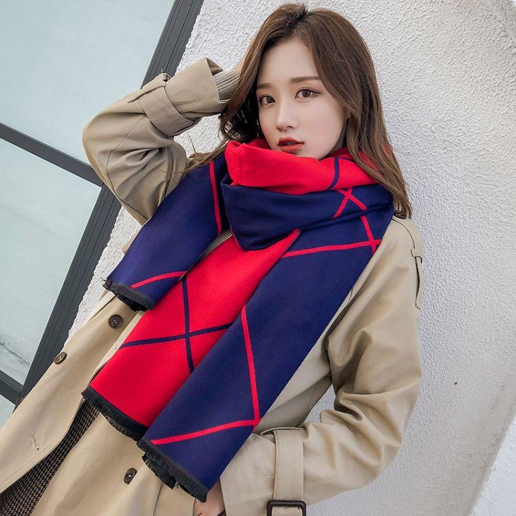 2019秋冬季新品欧美长款英伦格子围巾两用保暖百搭女士披肩批发