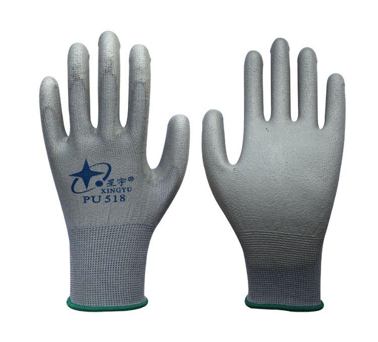 星宇PU518手套PU手套轻巧耐磨防静电防尘无尘浸胶涂层PU尼龙手套
