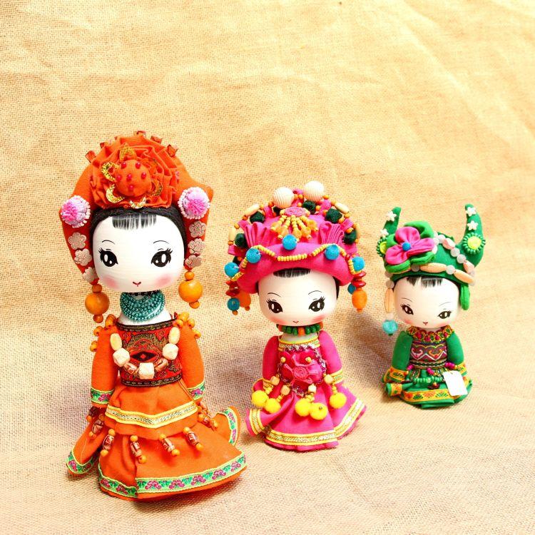 特色云南少数民族娃娃摆件玩偶 景区旅游纪念品大头卡通民族娃娃