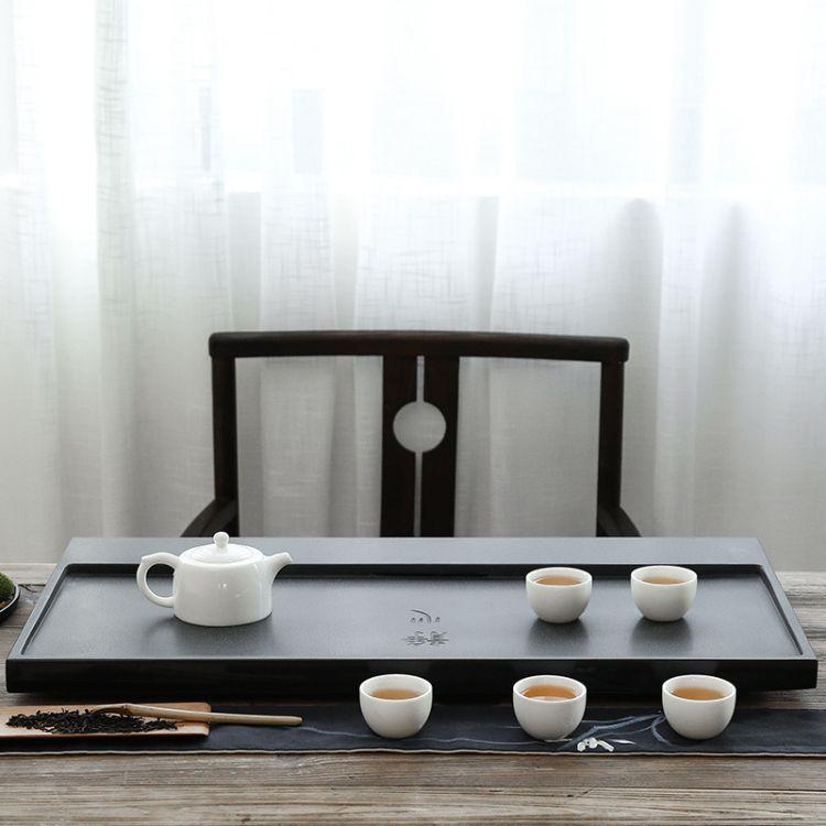 整块天然乌金石茶盘家用不打蜡可养石材茶台茶海简约排水托盘