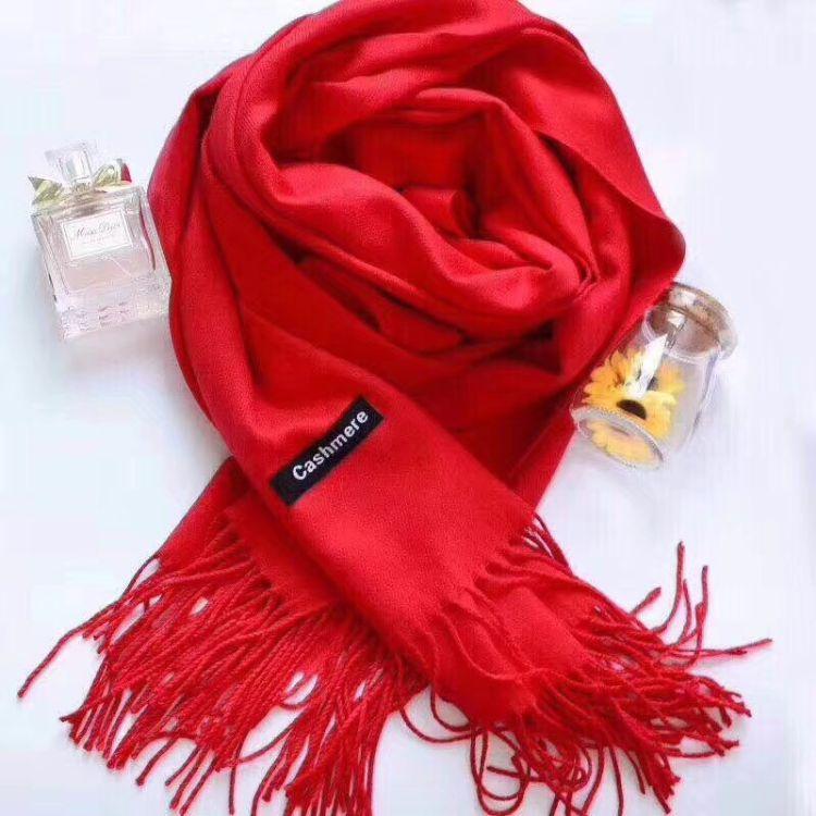 2018新款 经典单色羊绒围巾 纯色羊绒 披肩加厚保暖 年会围巾批发