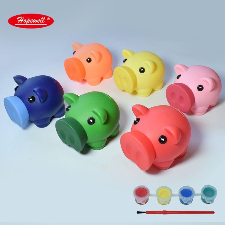 供应搪胶摔不烂DIY小猪彩绘储蓄罐 儿童涂鸦储蓄罐