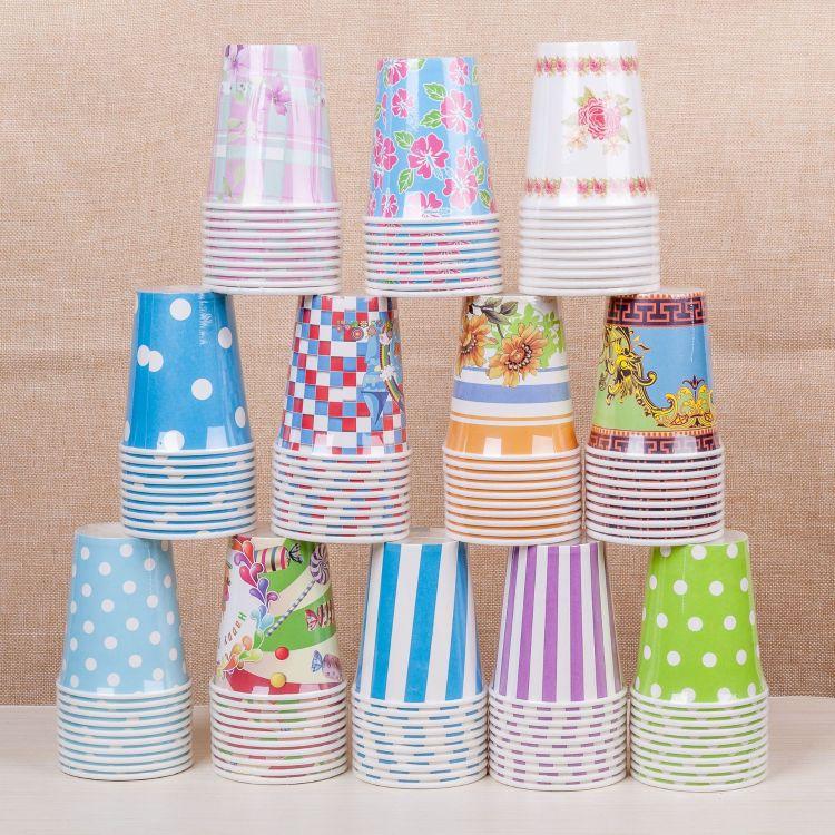 厂家直销一次性纸纸杯彩色环保装饰可降解派对