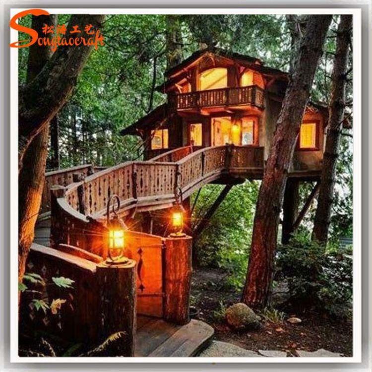 广州设计树屋酒店主题树假村 高档森林树屋别墅配套工程
