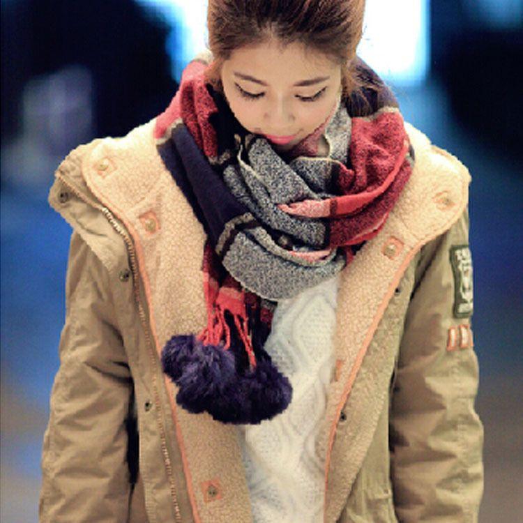 秋冬新款兔毛江南风18球保暖大围巾 仿羊绒加厚围巾批发