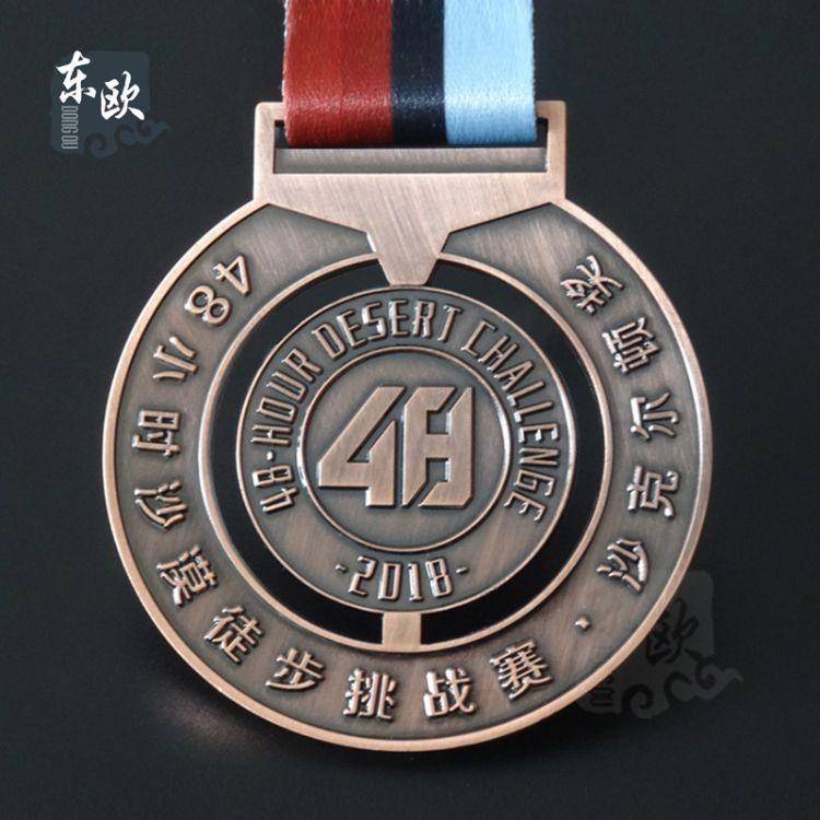 厂家定制优质镂空奖牌 锌合金红古铜色奖章 沙漠挑战赛奖牌定做