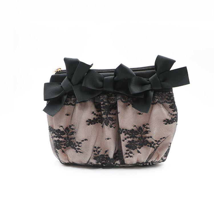 厂家订制蕾丝化妆包 日韩风黑色蕾丝手拿包小号便携口红包化妆品收纳包