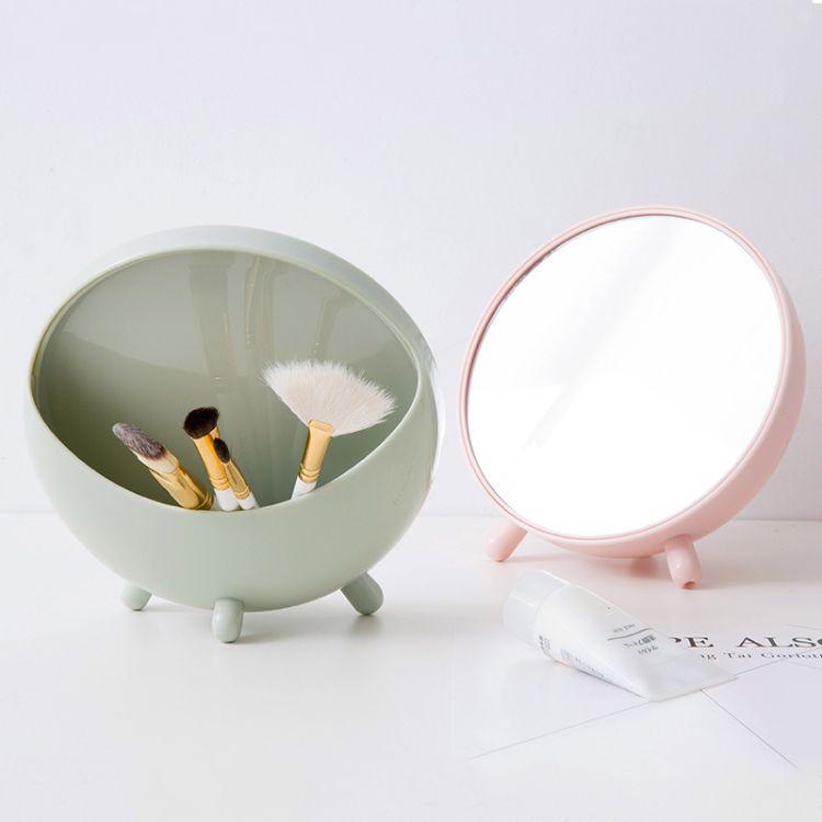 圆形梳妆镜台式桌面小镜子 简约学生便携化妆公主镜化妆镜收纳镜