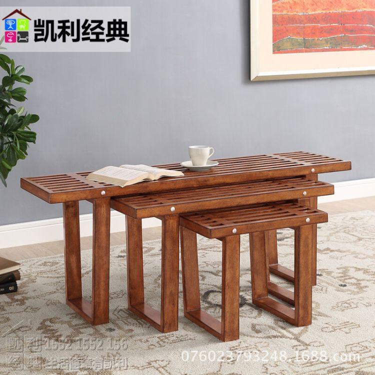 全实木凳子 三件套创意凳子 儿童小板凳 叠加换鞋凳 美式木制矮凳