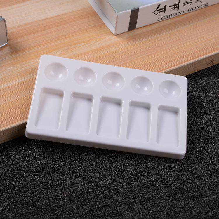 10孔长方形塑料画画调色盘 新款调色板水彩绘画工具美术颜料用品