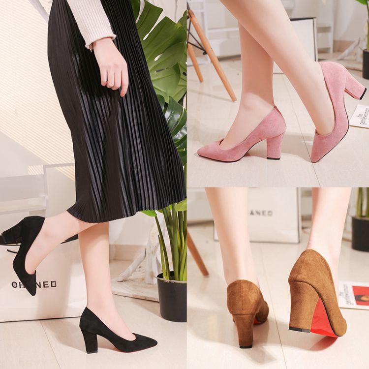 2018春夏季新款黑色高跟鞋女粗跟尖头中跟职业韩版绒面百搭工作鞋