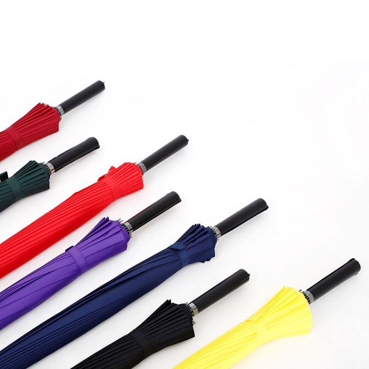 现货批发创意男士素色24k骨直杆伞广告伞定制防风纯色商务伞男女