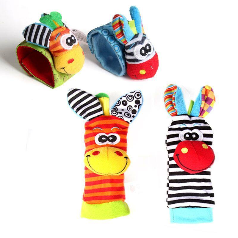 速卖通婴儿动物手腕带摇铃袜子宝宝手表带摇铃安抚婴儿毛绒玩具