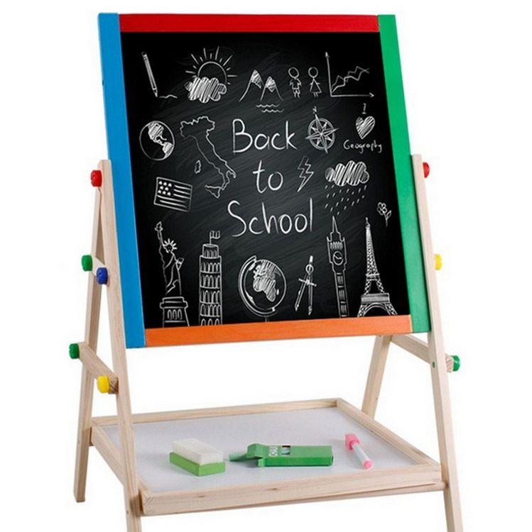 彩色实木双面磁性儿童画板画架 写字板小黑板支架式 宝宝涂鸦板