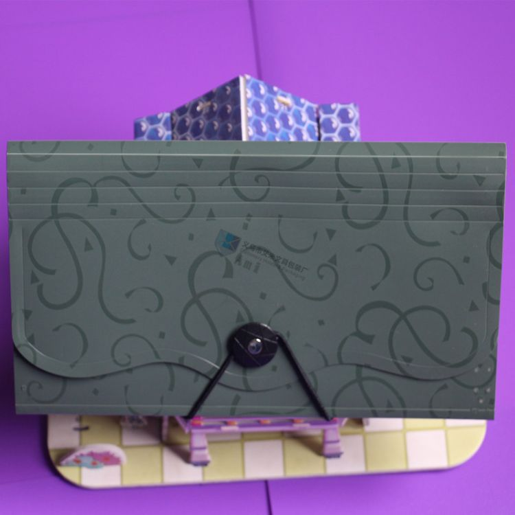 多层定制黑色拉花b6挂扣款风琴包票据包 可按照需求定制印刷