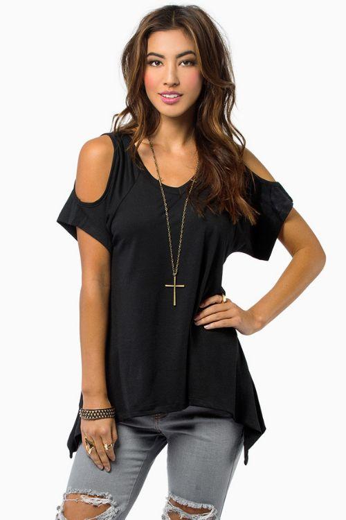 2018夏季女装ebay速卖通wish热卖V领露肩短袖不规则下摆T恤