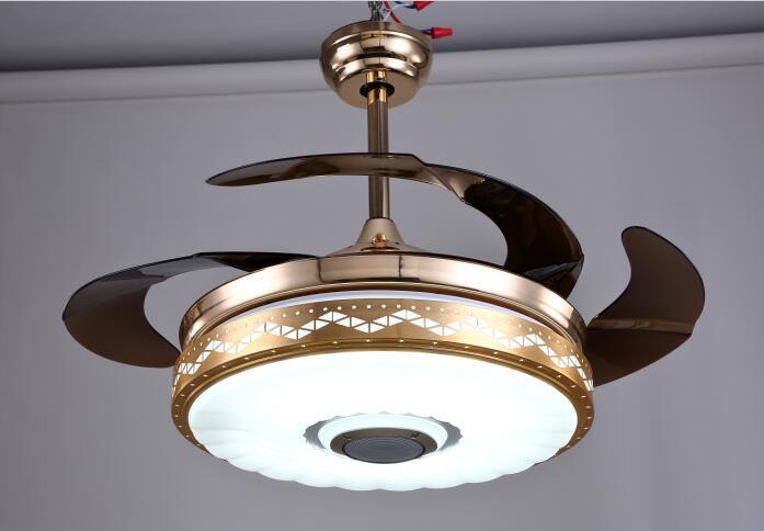 LED蓝牙音乐隐形风扇吊灯 客厅餐厅酒店风扇灯  定制灯 包邮