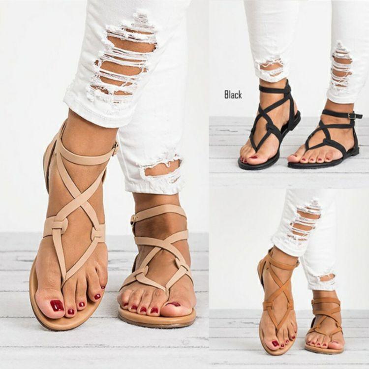 厂家直销Wish亚马逊爆款2018夏季新款细带夹脚平底外贸大码女凉鞋