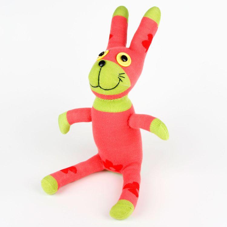 红绿印花兔子袜子娃娃玩偶公仔DIY成品创意玩具批发厂家直销