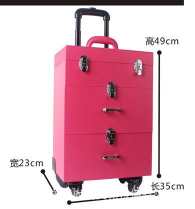 厂家直销 彩妆美甲箱 高档美妆工具箱 万向轮拉杆化妆箱