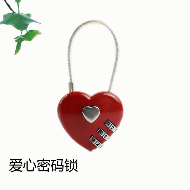 厂家直销密码同心锁 创意可爱箱包锁 钢丝绳密码挂锁 心型密码锁