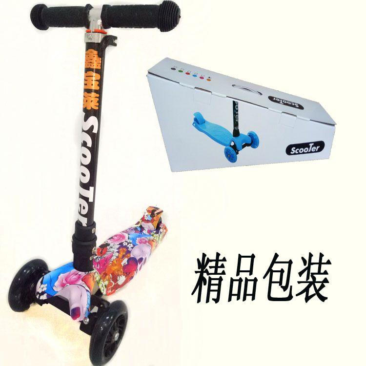 厂家直销新品折叠滑板车升价涂鸦迷彩小孩踏板车四轮闪光一件代发