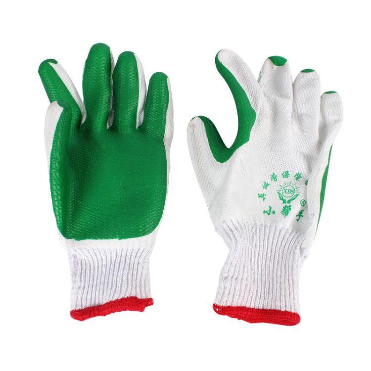 批发劳保胶片手套小帮手挂胶浸胶耐磨耐用防滑耐磨耐穿涂胶线手套