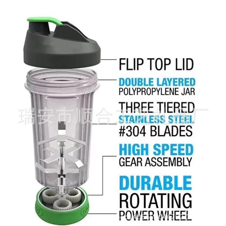 便携式搅拌杯 手摇果汁 杯 手动榨汁杯滚动防漏齿轮 revablend