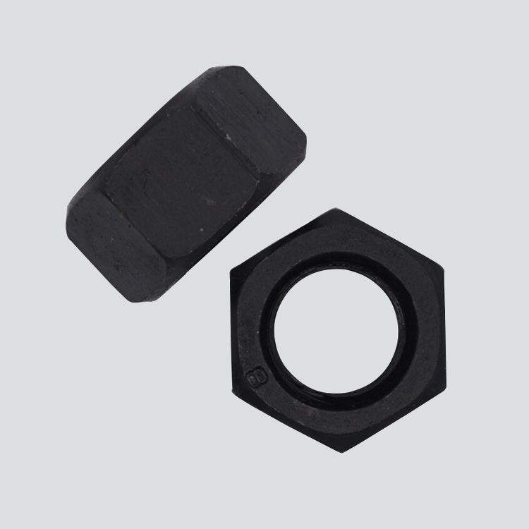 高强度六角螺母 国标细牙六角螺母螺帽 10.9级黑色六角螺母