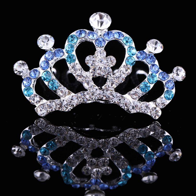 厂家新款韩版创意水钻皇冠合金头饰发梳儿童皇冠饰品发饰定制批发