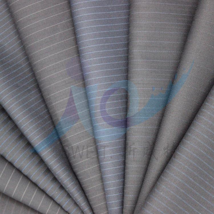 50毛精纺涤毛现代时装面料270g条纹活性毛涤裤装布料现货批发