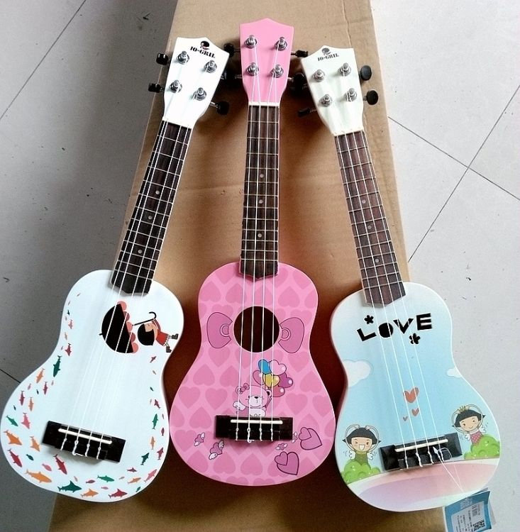 17寸21寸彩琴尤克里里儿童小吉他彩色贴画卡通UK 支持定制 贴牌