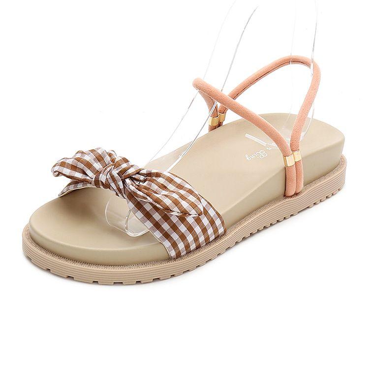 2019夏季时尚女式凉鞋 休闲圆头蝴蝶结女凉鞋 一鞋两穿中跟女鞋潮
