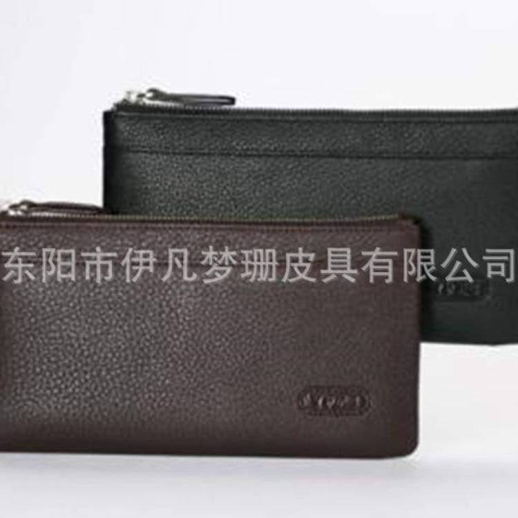 男士钱包长款拉链牛皮日韩手拿包新款大容量纯色软皮手机包