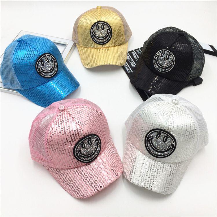 春夏季新款笑脸儿童帽子韩版字母宝宝鸭舌帽亮片网帽嘻哈棒球帽女