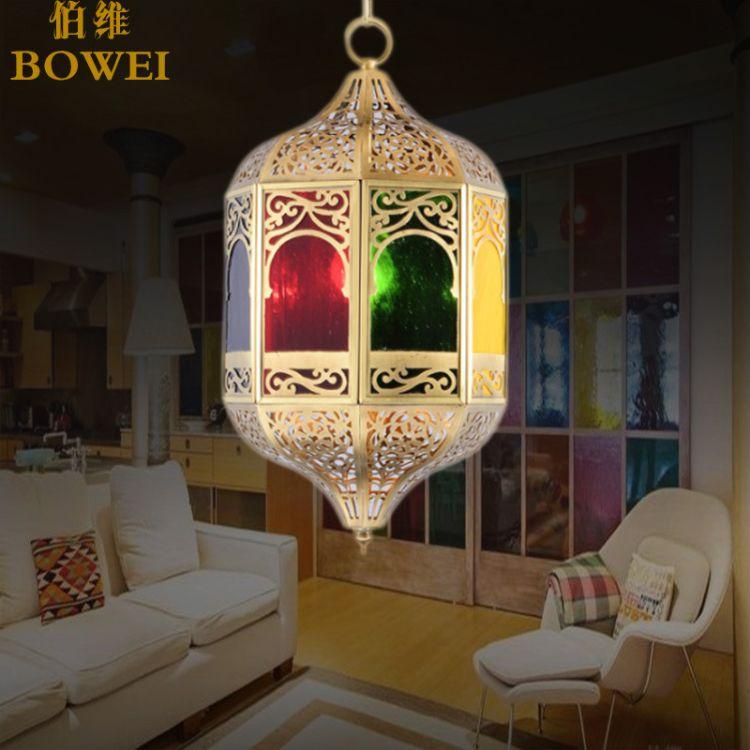 纯手工全铜镂空雕花焊锡吊灯 地中海阿拉风格咖啡厅铜吊灯