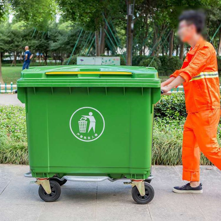 660升塑料垃圾桶 户外大号环卫手推垃圾车 660升移动垃圾箱